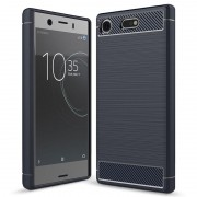 Sony Xperia XZ1 Compact Brushed TPU Case - Carbon Fiber - Dark Blue