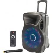 Boxa activa portabila PARTY-15LED difuzor 38CM 400W USB MP3 BT