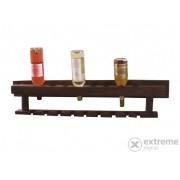 Suport orizontal de perete pentru sticle vin, cu suport pahare, lemn tropical, 100x20x23 cm