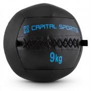 Capital Sports WALLBA 9 стенна медицинска топка 9 кг изкуствена кожа черна (FIT20-Epitomer)