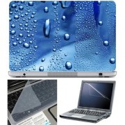 Finearts Laptop Skin Water Drop Blue With Screen Guard And Key Protector - Size 15.6 Inch