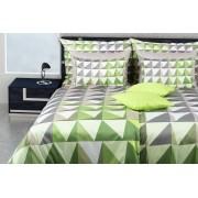 1 Glamonde Kostkované povlečení Efisio šedá/zelená 2×70x90 cm 240x220 cm zipové