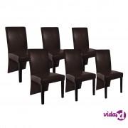 vidaXL Blagovaonske Stolice 6 kom Umjetna Koža Tamno Smeđe
