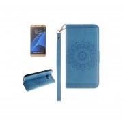Para Samsung Galaxy S7 Edge / G935 Patron Floral En Relieve Horizontal Funda De Ecocuero Flip Con Ranuras Para Tarjetas Y Titular Y Lanyard (azul)