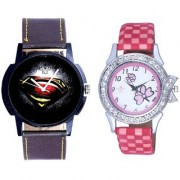 Black-Red Dial And Pink Flowers Couple Analogue Watch By Vivah Mart