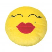 Soft Smiley Emoticon Yellow Round Cushion Pillow Stuffed Plush Toy Doll (Kiss Kiss)