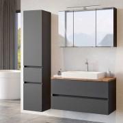 Badezimmermöbel in Dunkelgrau und Wildeiche Optik LED Beleuchtung (3-teilig)