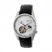 Heritor Automatic Alexander Semi-Skeleton Leather-Band Watch - Silver/White HERHR4901