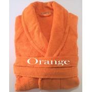 Salomé Prestige Peignoir col châle mixte coton peigné 420 gr / M²-Small-orange