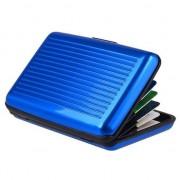 GadgetBay Aluminium Metaal Pasjeshouder niet Magnetisch - 6 Compartimenten Blauw