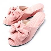 モアレヒール室内履き ピンク