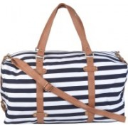 Kleio Unisex Striped Duffle Weekend Bag Travel Duffel Bag(White, Blue)