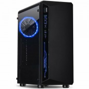 Chassis INTER-TECH C-3 SAPHIR Gaming Midi Tower, ATX, 1xUSB3.0, 2xUSB2.0, audio, PSU optional, Tempered glass side panel, Illuminated connections in the front, RGB control board, 120mm RGB fan, Dust f IT-C-3_SAPHIR