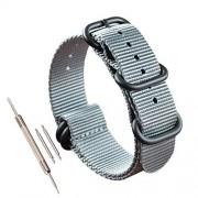 """MZbutiq Correa de repuesto de nailon para reloj (18 19 20 21 22 23 24 25 26 28 mm) 24mm-wrist size(6""""-8"""") Gris"""