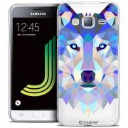 Caseink - Coque Housse Etui Samsung Galaxy J3 2016 (J320) [Crystal Hd Polygon Series Animal - Rigide - Ultra Fin - Imprimé En France] Loup
