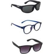 Gland Sports, Wayfarer, Oval Sunglasses(Black, Clear, Violet)