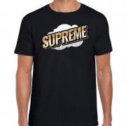 Bellatio Decorations Supreme fun tekst t-shirt voor heren zwart in 3D effect