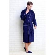 PECHE MONNAIE Стильный мужской халат из плотной махровой ткани темно-синий с рисунками слоников + тапочки в подарок PECHE MONNAIE №923 Темно-синий