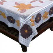 Kuber Industries Center Table Cream Floral Design with Pink Flowers Cloth Net 40*60 Inches (Shiny Cloth)