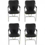 DZYN Furnitures Leatherette Office Visitor Chair (Black Set of 4)