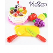 Blossom 8 Pcs Cake and Fruit Cutting Set, Knife,Plate and Various Fruits for Kids,Random Color