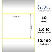 Etichette SQC - polipropilene opaco (bobina), formato 102 x 76