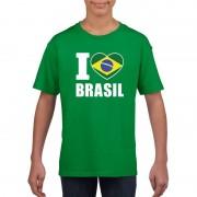 Bellatio Decorations Groen I love Brazilie fan shirt kinderen