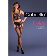Elegant strumpbyxa i strumpebandshållarlook med spetsresår Strip Panty från Gabriella nero M/L