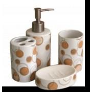 Set baie portelan 4 piese dozator sapun sapuniera suport periute dinti pahar cu buline maro