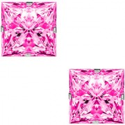 PeenZone 92.5 Silver Pink Square Cubic Zirconia Ear Tops For Women Girls