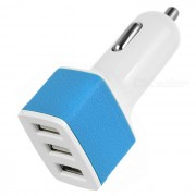 universal 5V / 3A 3-Port USB cargador de coche adaptador de corriente para PC de telefono movil / tableta-blanco + azul