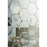 My-Furniture Piastrelle a specchio Esagonali smussate colore Argento da parete