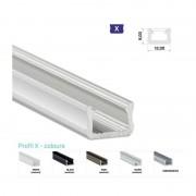 Profilo Alluminio LED Piatto MINI per sottopensile 8 x 12 mm - Modello X