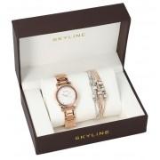 SKYLINE dámská dárková sada zlatorůžové hodinky s náramkem 2950-5