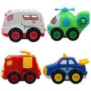 Emob Cute Pack of 4 Push and Go Emergency Vehicles Toy with Openable Doors Features (Multicolor)