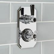 HudsonReed Mitigeur de douche thermostatique rétro encastré - 1 fonction – Chromé et noir - Elizabeth