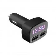 Platinet Car Charger 2 x USB 2.4A Voltage and Temperature LCD - зарядно за кола с 2 USB порта и дисплей (черен)