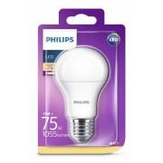 Bec LED Philips 11W (75W), E27, alb cald, temperatura culoare 2700K, 1055 lumeni, 220-240V