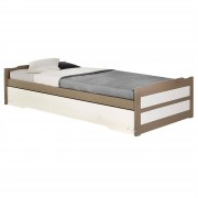IDIMEX Tandembett LORENA taupe/weiß 190 x 90 cm