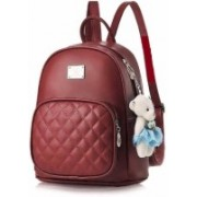 ansh Cute Black Mini PU Leather Backpack Fashion Small Day packs Purse for Girls and Women Waterproof School Bag(Maroon, 10 L)