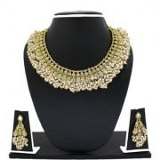 Zaveri Pearls Gold Plated Gold & White Alloy Necklace Set For Women