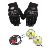 Autosky Combo of 4 Led Fog Light For All Bikes With On Off Switch And full finger protective Gloves