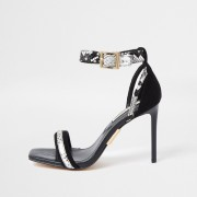 river island Womens Black Snake Print Barely There Sandal (4)