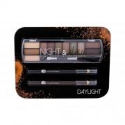 2K Night & Day подаръчен комплект палитра сенки за очи 8,16 g + очна линия 0,6 g Black + очна линия 0,6 g Brown за жени Daylight
