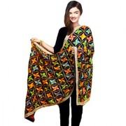 Weavers Villa Punjabi Hand Embroidery Phulkari Faux Chiffon Black Dupatta Stoles
