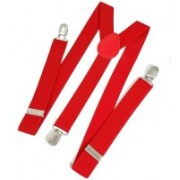 FashMade Y- Back Suspenders for Men, Women(Red)