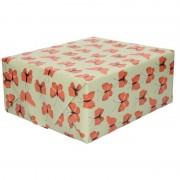 Geen 2x Verjaardag kadopapier groen/rood vlinders 200 x 70 cm voor kinderen