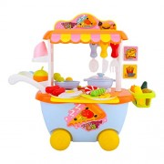 Baybee Baby Toy Set Kitchen Playset Fast Food Car | Baby Cookware Play Set with Light & Sound/Kitchen Set Cooking Toy with Car -34 Piece
