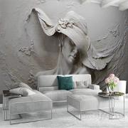 ZFFMSS Papel Pintado 3D Personalizado Estéreo En Relieve Personajes De Cemento Escultura Foto Estilo Europeo Vintage Sala De Estar Decoración De La Cabecera Mural 3D-250cmx175cm