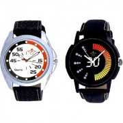 Attractive Race Dial And Orange-Black Multi Dial Quartz Analogue Combo Watch By Google Hub